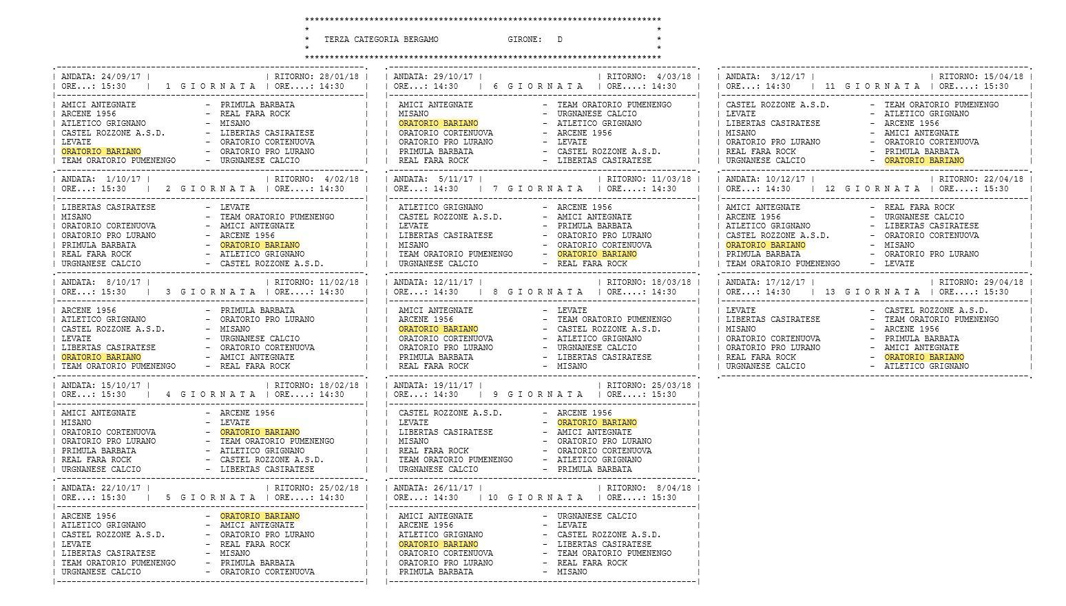 Calendario Terza Categoria.Definiti I Calendari Di Seconda E Terza Categoria Bergamo