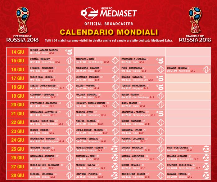 Calendario Partite Italia.Mondiali Russia 2018 Calendario Date E Orari Di Tutte Le